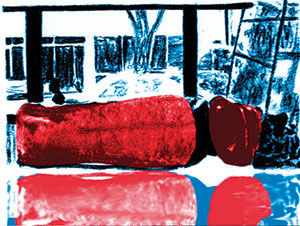 Drawing of a very red couch in a library